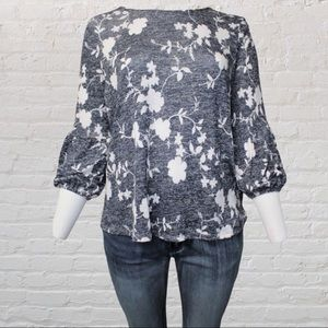 3/4 Sleeves with Elastic Cuffs Floral Top 1XL